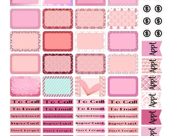 Planner Sticker, Pinks and Reds, Valentine's Sticker, Plannner, BoJu, Fitness Stickers