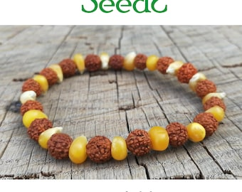Natural seeds bracelet-Rudraksha, maize