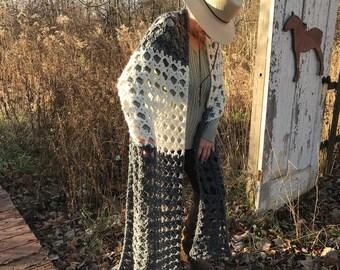 Handmade crochet shawl, wrap. Fashion crochet
