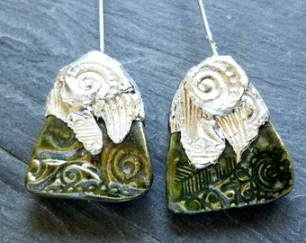Ceramic Earrings Charms Pair with Decorative Tinwork - You Choose Metal Color - #M-49