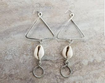 Cowrie Shell Pyramid Earrings