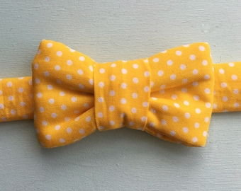 Bright Yellow Polka Dot Bow Tie For Cats