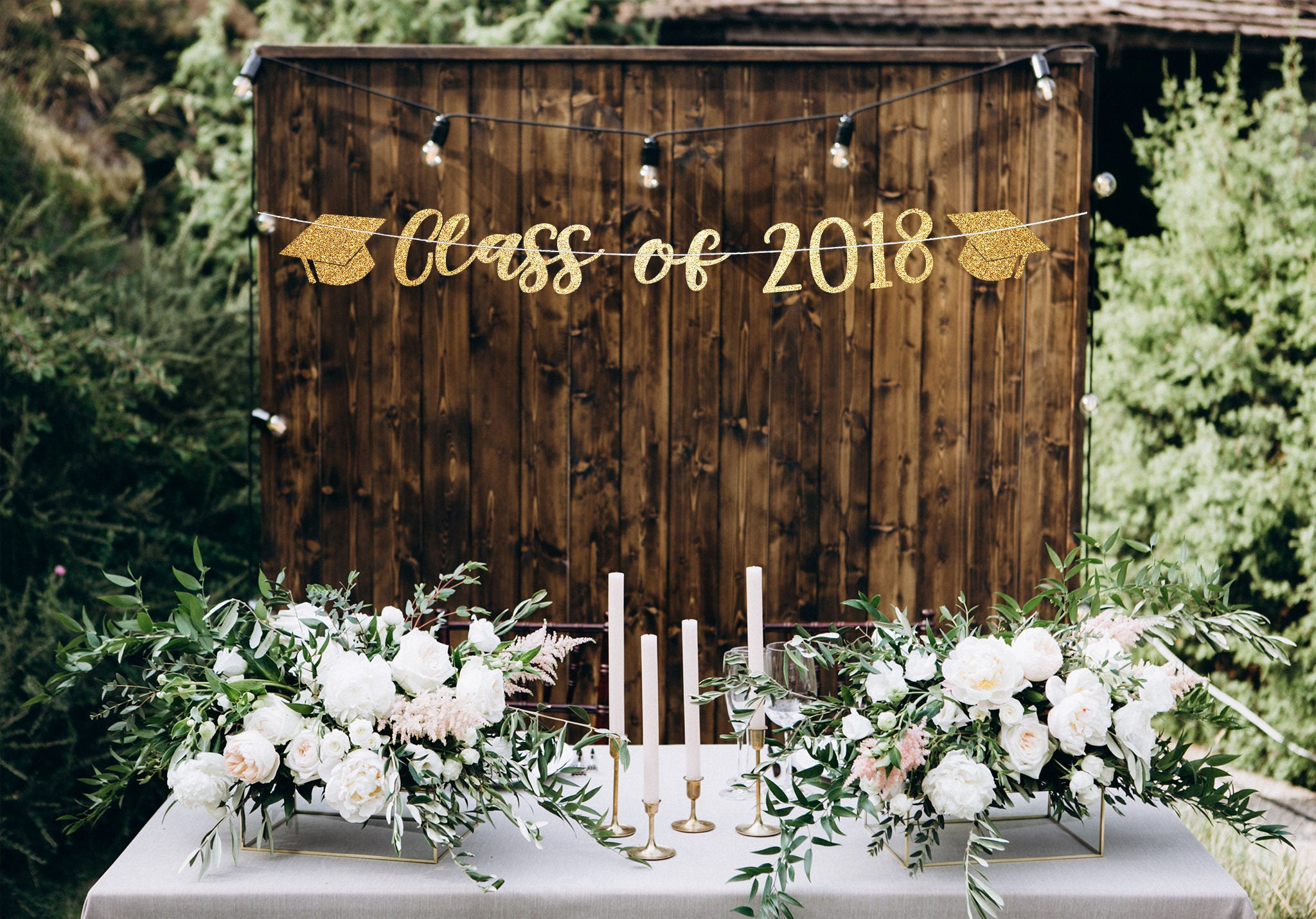Class of 2018 banner graduation party decorations high for Decoration 2018