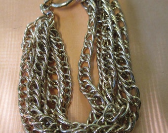 Vintage Gold toned  mulitible 5 chain bracelet with toggle clasp no markings
