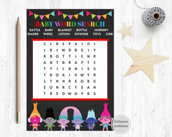 Baby Shower Baby Word Search Game Trolls | Trolls Baby Shower Baby Word Search Game|Baby Shower Word Search Trolls | Trolls Game
