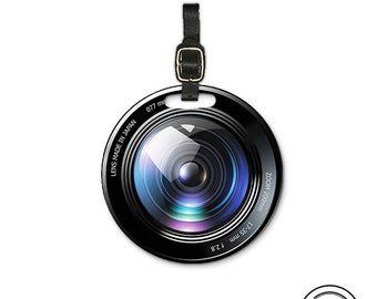 Camera Lens Round Luggage Tag, Single tag with Strap 3.5 Inch Round Custom Text on Back
