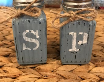 Shabby Chic Salt and Pepper Shakers. Rustic Farmhouse