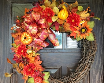 Etsy Large Fall Wreath   Thanksgiving Wreath   Fall Decorations   Door Wreaths By Trina on Etsy   Wreaths on Etsy   Etsy Wreaths