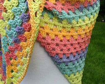 crochet summer cotton shawl, lightweight shoulder wrap, festive color clothing accessories, gift for her, wraps as scarves