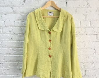 vintage linen Flax top / romantic chartreuse blouse / yellow green button down shirt