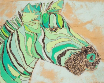 Teal Zee Canvas Print by Jennifer Mercede 14x10in