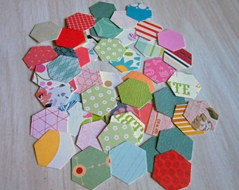 Die Cut and Punched Hexagons made from Quality Patterned Scrapbooking Paper Pack 50