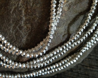 FINE SILVER Bicone Beads  3mm x 2mm  - Fine Silver Spacer Beads - Karen Hill Tribe 50 Beads Oakhill Silver Supply MB240a