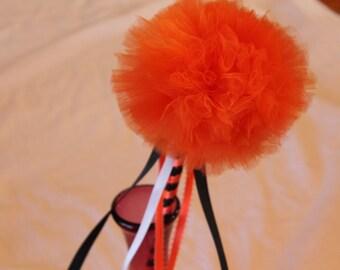 Orange Magic Wand, Halloween Wand, Wand, Princess Wand, Tulle Wand, Pom Pom Wand, Birthday Party Wand Favor, Weddings