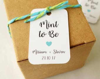 30x Mint To Be Personalised Mini Tags ~ Wedding Favour Tag ~ Customised Thank You Gift Tags ~ Engagement Party Favor