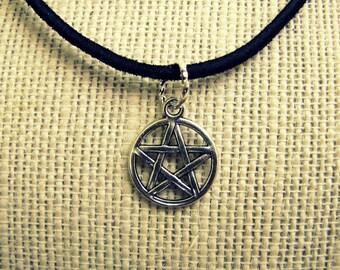 Supernatural Inspired Devil's Trap Pentagram Necklace - Pendant on Leather Cord Necklace