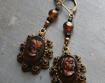 Cameo Steampunk Vintage Salvage Assemblage Earrings - Belly Dance, Renaissance Festival, Boho, Brown, Black, Victorian