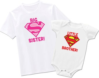 Big Sister Little Brother Matching Superman - Each Sold Seperately - Bodysuit or T-Shirt