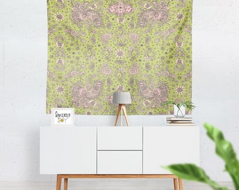 Floral tapestry wall hanging green bird art tapestries floral art tapestry floral tapestries cottage chic tapestry shabby chic tapestry art
