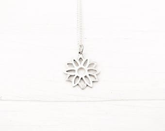 Lotus Necklace in Silver - Bridesmaids Jewelry - Gift for Bridesmaids - Silver Wedding - White Wedding - Wedding Jewelry - Mother's Day Gift