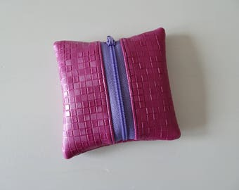 Coin pocket pink faux leather embossed