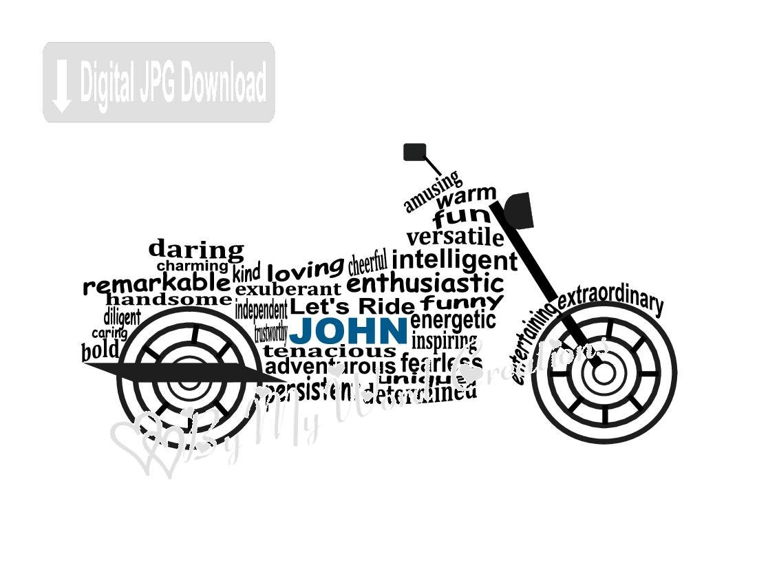 Motorcycle Word Art Biker Gift Personalized Motorcycle Art