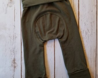 Maxaloones ~ Grow With Me Olive Green Gender Neutral  Play Pants ~ Cloth Diaper Pants