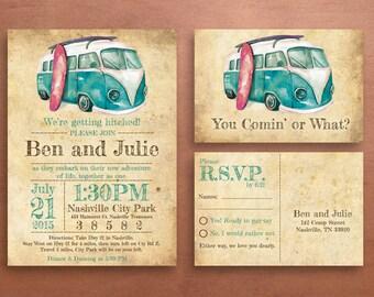 VW Bus Volkswagon Wedding Invite Set