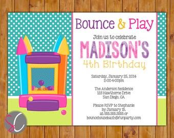 Bounce House Birthday Party Invitation Printable Polka Dots Inflatables Girl Theme Invite 5x7 JPG (113)
