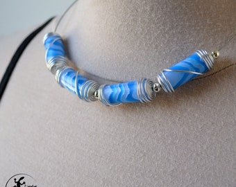 Imitation agate blue polymer clay necklace