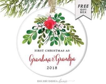 Our First Christmas as Grandma & Grandpa Watercolor Ornament Personalized Christmas Ornament Grandparents Ornament Family Ornament New Nana