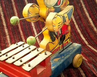 Antique  1939 Mickey Mouse Xylophone Pull Toy