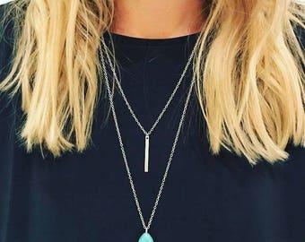 Double Chain Turquoise Pendant