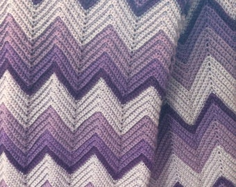 Purple Ripples afghan crocheted