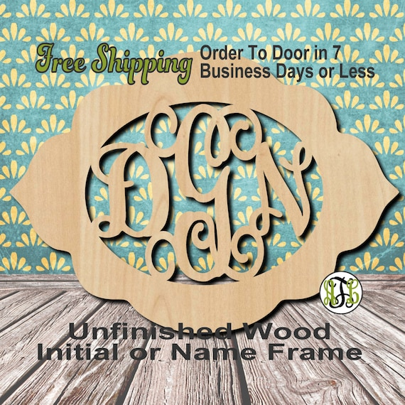 Unfinished Wood Danielle Frame Monogram, Name, Word, Custom, laser cut wood, wooden cut out, Wedding, Personalized, DIY