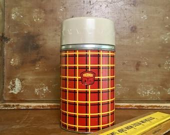 Vintage Mid Century Red Plaid Metal Thermos