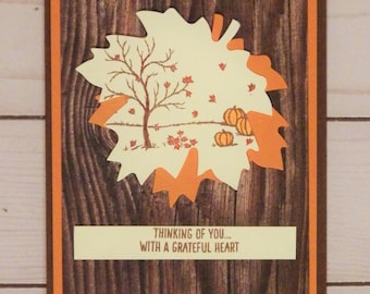 Fall Leaf Thinking of You Card - Handmade Thankful for You, Tree and Pumpkin Card