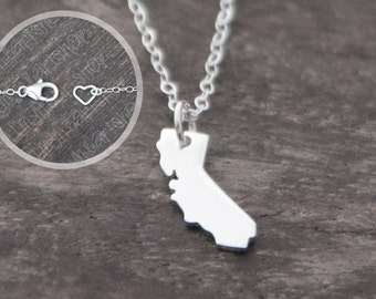 California Necklace - Tiny Sterling Silver California State Jewelry