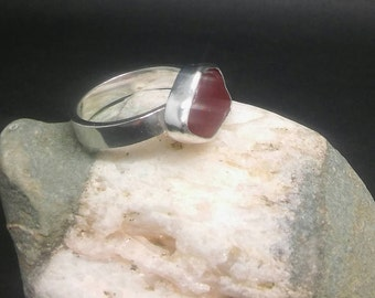 Red Sea Glass and Sterling Silver ring, Sea glass ring, Cornish sea glass ring, Red sea glass ring, UK size O, US size 7,  Birthday gift.