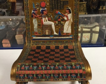 Vintage Hand Made Egyptian Goddess Isis Throne Chair