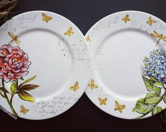 Hand Painted Flowers Peony Flower Illustration Floral Plate Hedrangea Flower Floral Botanical Art Peony Flower Gloden Butterfly Peony Plate