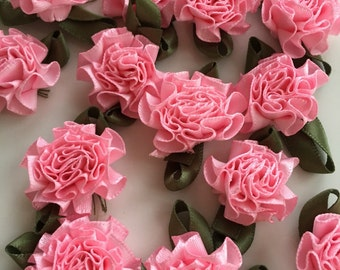 Pink Ribbon Flowers Carnations, 25mm Set of 20 Handmade