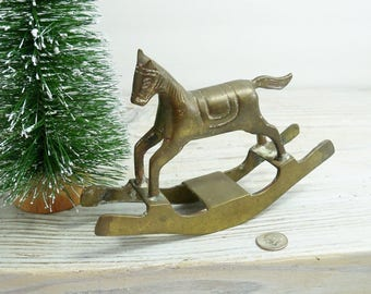 Brass Rocking Horse, Vintage Solid Brass Christmas Rocking Horse - circa 1950s