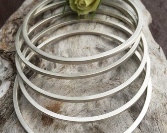 Stacker Bangle Sterling Silver Bangle Bracelet, rustic, artisan, metalwork, handmade, Boho, Bohemian, Gypsy