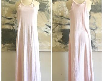 Vintage Moda International Ribbed Racerback Maxi Dress Pink Built In Bra S/M