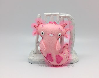 Axolotl ornament, felt salamander, pink felt axolotl, salamander gift ornament, mud puppy salamander, axolotl plush, salamander decoration.
