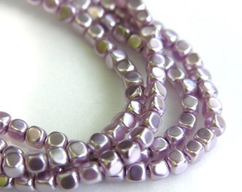 Lavender Pearlized Small Rounded Cube Beads  100