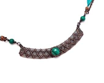 Malachite necklace, malachite copper necklace, malachite wire wrapped necklace, malachite silk necklace, gift for her
