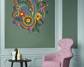 Indian ornament Decal Wall Flower Vinyl Sticker Mandala Decal Mandala Sticker Boho Wall Art Vinyl Decal Indian Wall Art kcik129