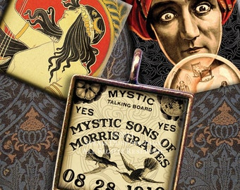 Vintage Mystic Ouija, Crystal Ball, Fortune Teller, Gypsy, Boho - 1 x1 inch Squares - Digital Collage Sheet - Instant Download and Print